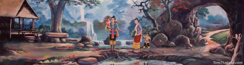 Vessantara Jataka mural of Prince Vessantara and family at their new forest home