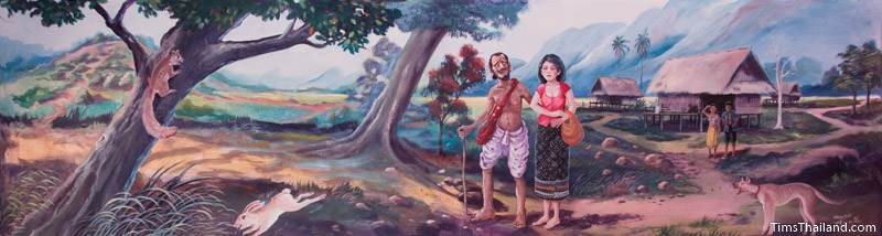 Vessantara Jataka mural of Jujaka and his wife