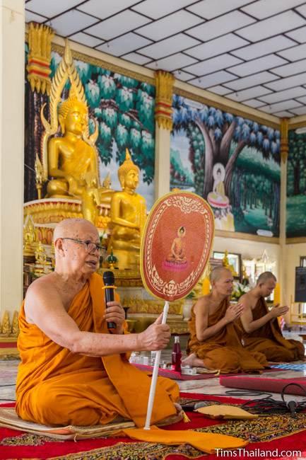 abbot speaking during Kathin celebration