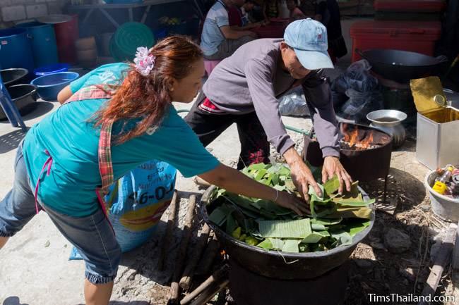cooking khao tom mat for Kathin celebration