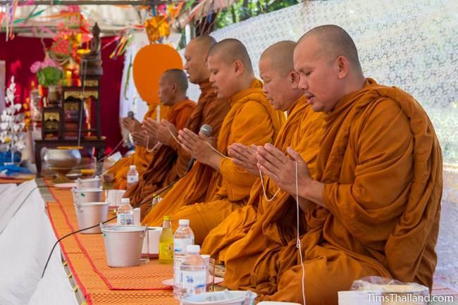 monks giving a blessing for Kathin celebration