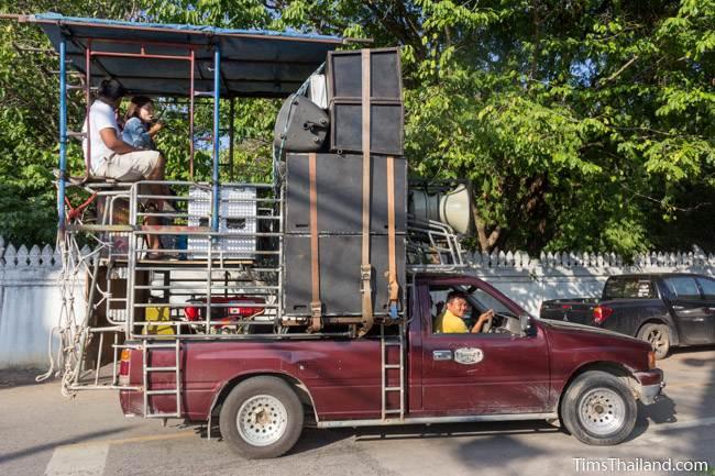 truck full of speakers for Kathin celebration parade