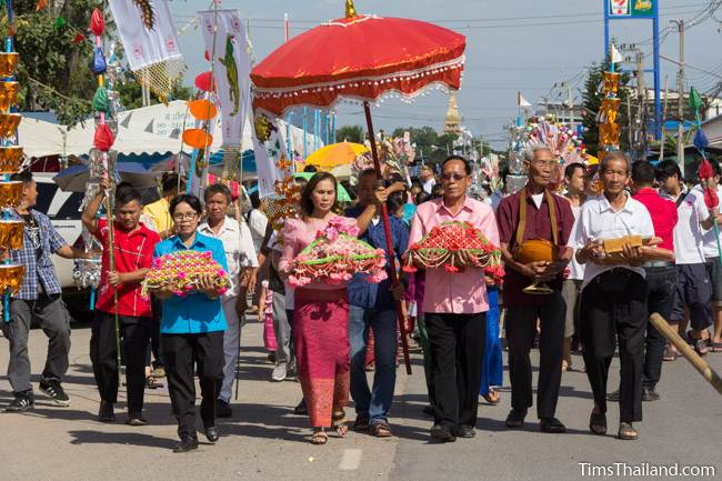front of procession going to temple for Kathin celebration