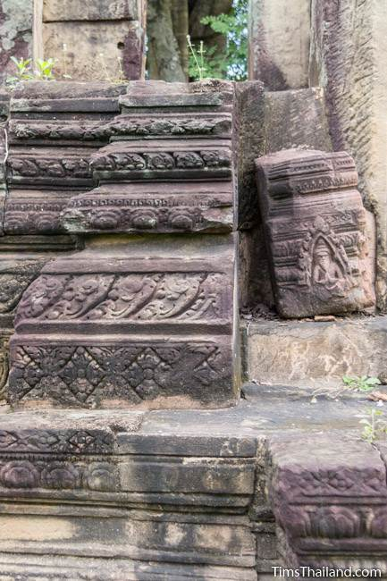 floral patterned skirting on library at Prang Phakho Khmer ruin