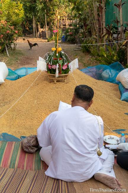 rice blessing ceremony with bai sii on top of rice pile at Boon Berk Bahn