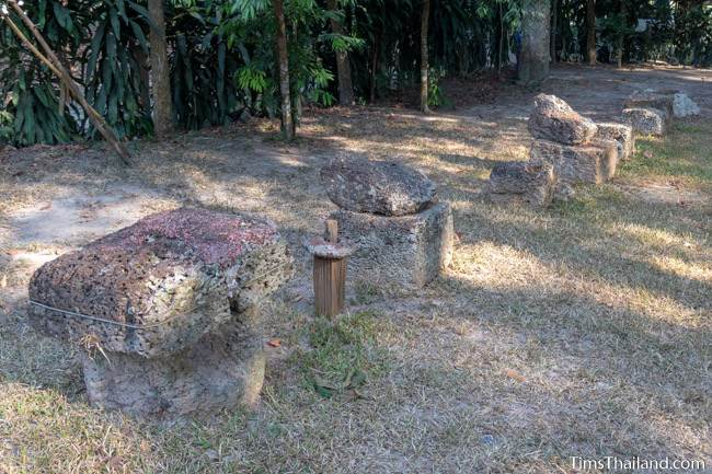 small laterite stupas at Muang Boran Dong Lakhon