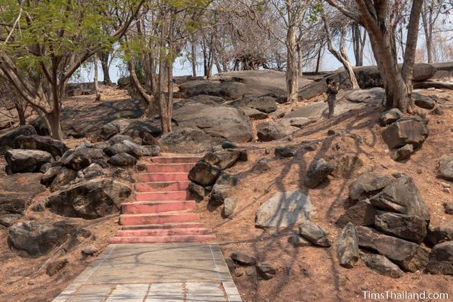 steps leading through sandstone boulders