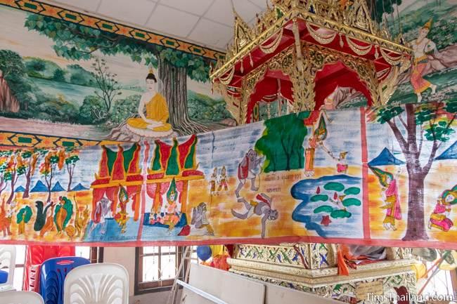 Pha Wet banner hanging inside wihan