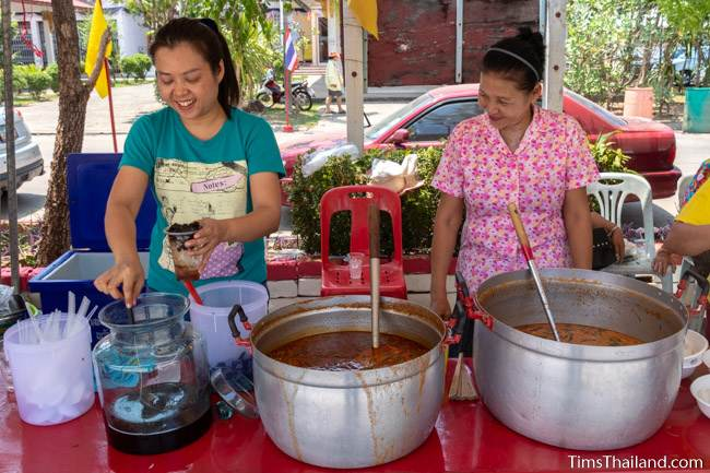 women serving food