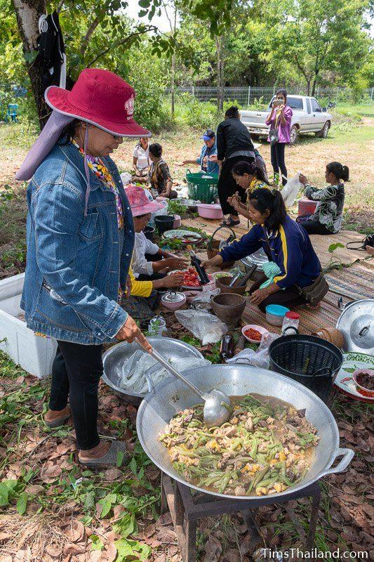 woman making lotus stem soup