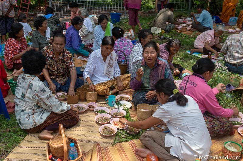 people sitting on ground and eating