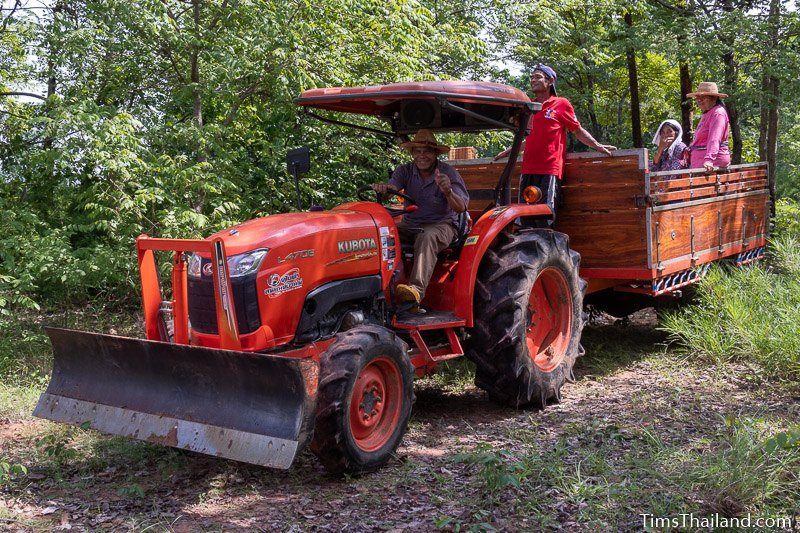 tractor driving out to field