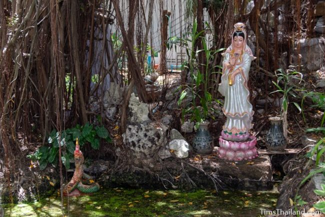 goddess Guan-Im statue in algae covered quarry pond