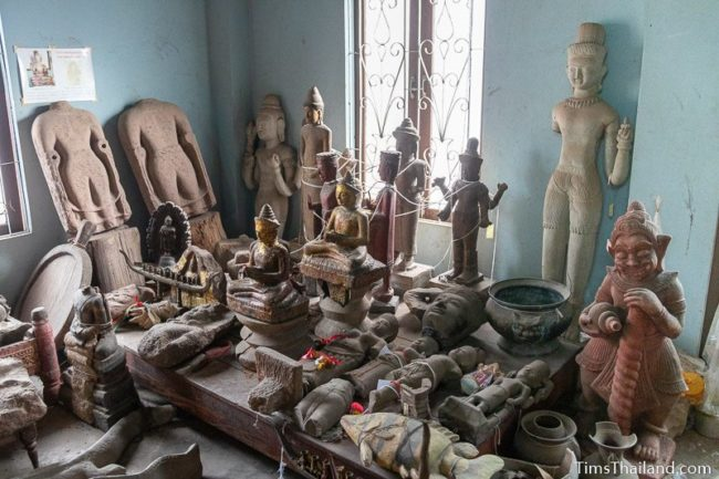 large collection of various Khmer and other statues