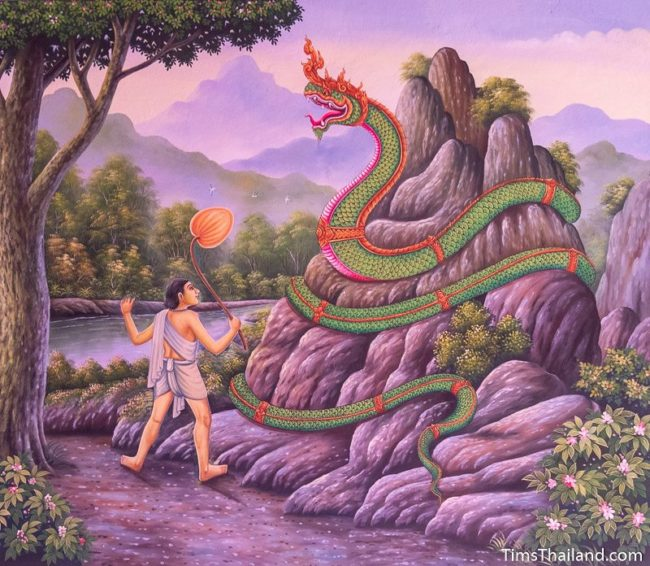 temple mural painting of naga on anthill
