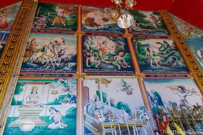 nine jataka paintings on a temple wall