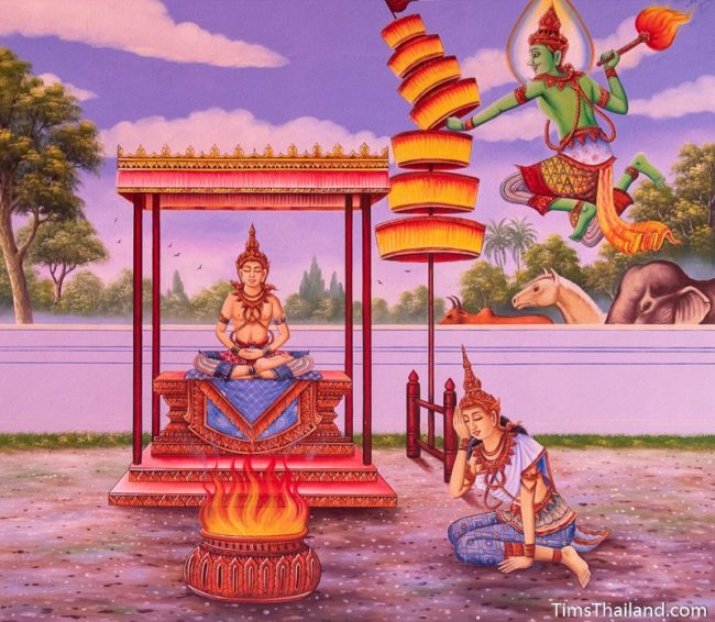 temple mural painting of Indra destroying royal umbrella