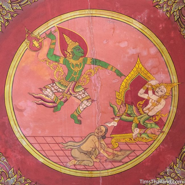 temple mural painting of Indra threatening a king