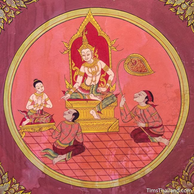 temple mural painting of man on throne talking to people