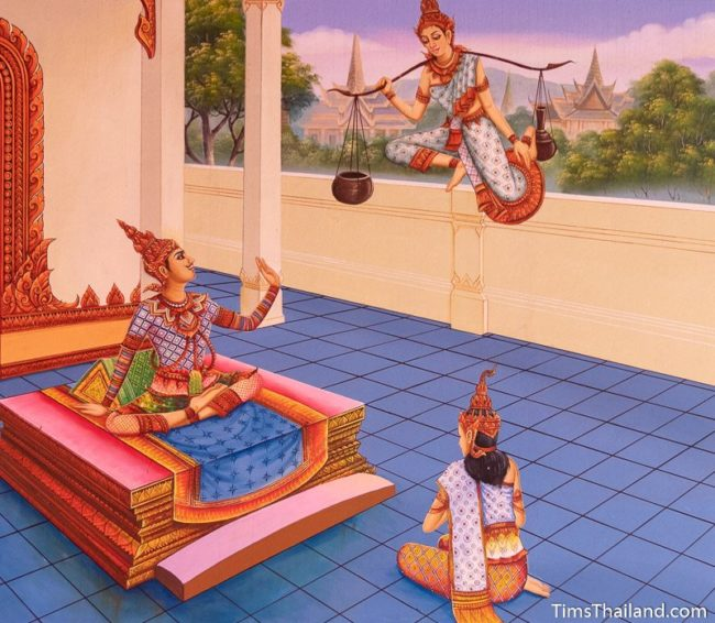 temple mural painting of god with baskets hung on shoulder talking to a king