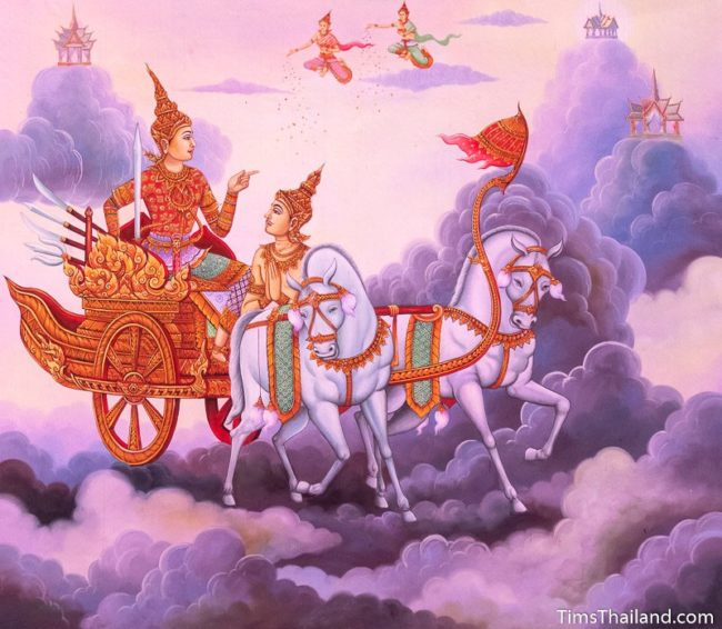 temple mural painting of man riding chariot in heaven