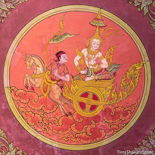 temple mural painting of man riding chariot