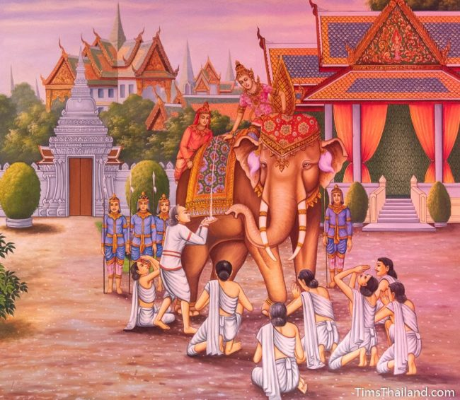 temple mural painting of people standing around an elephant