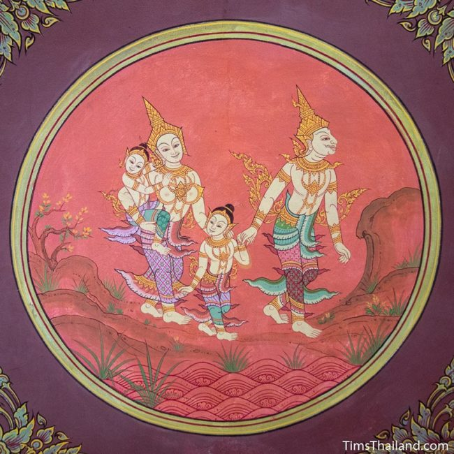 temple mural painting of family walking in forest