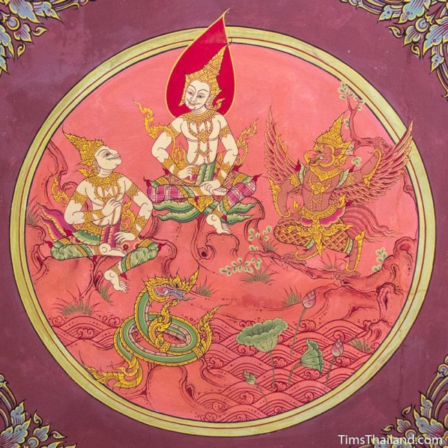 temple mural painting of four kings chatting