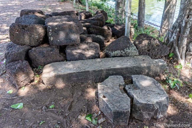 pile of laterite and sandstone blocks
