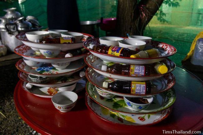 stacks of condiment trays