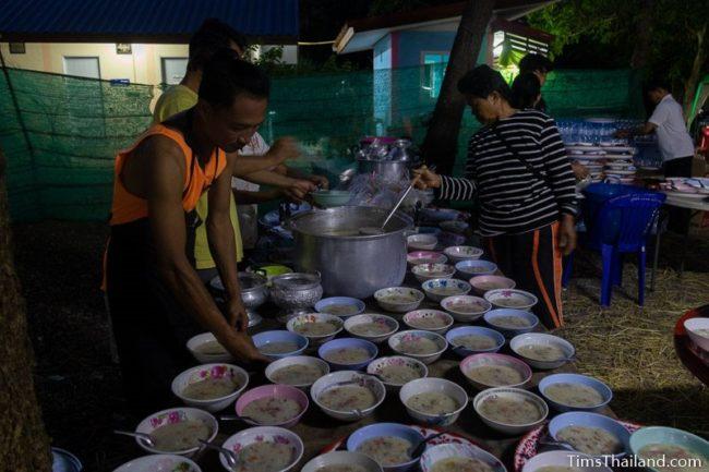 filling bowls of rice porridge