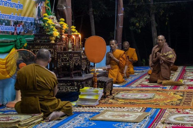 monks chanting during the night