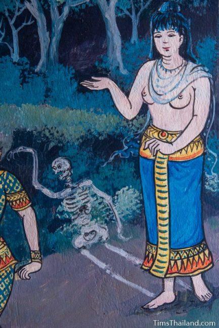 painted skeleton on window shutter