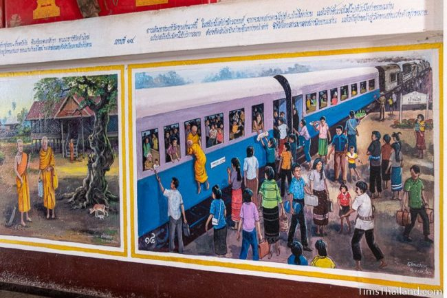 mural painting of people on a train