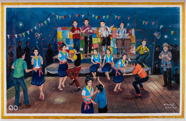 painting of band playing and people dancing