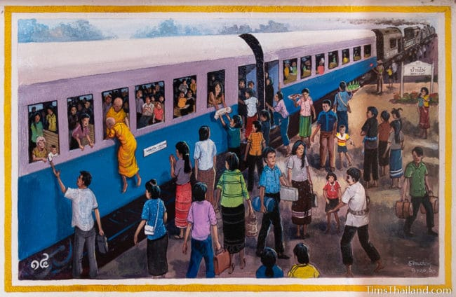 painting of people getting on and off a very busy train