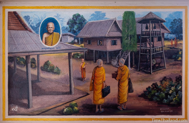 painting of monks at a temple