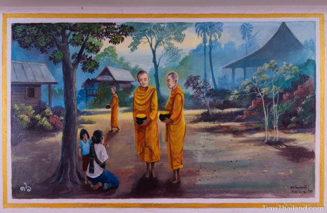 painting of monks collecting alms