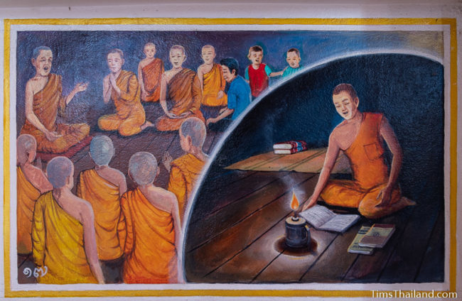 painting of group of monks talking and a single monk reading by candle light