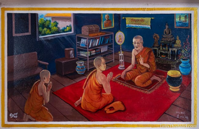 painting of monks talking