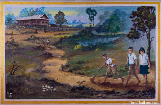 painting of children walking to school