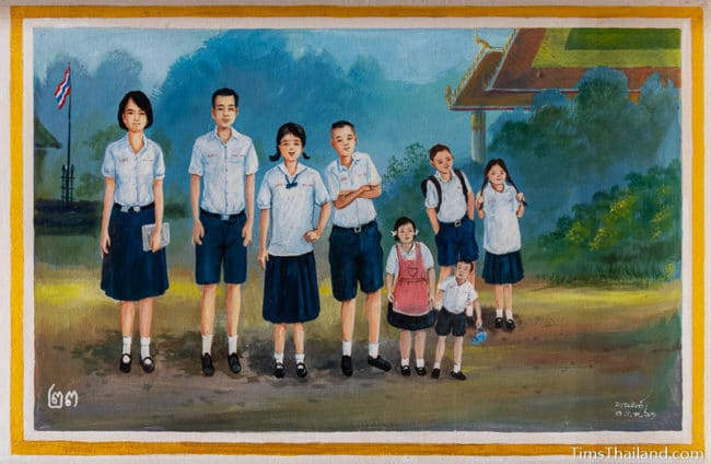 painting of a group of children in school uniforms