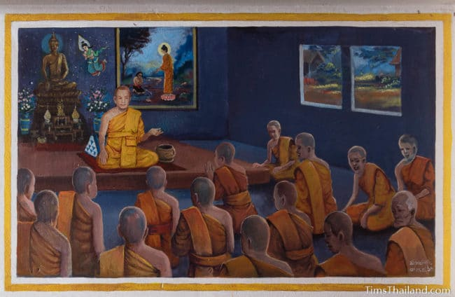 painting of many monks sitting together