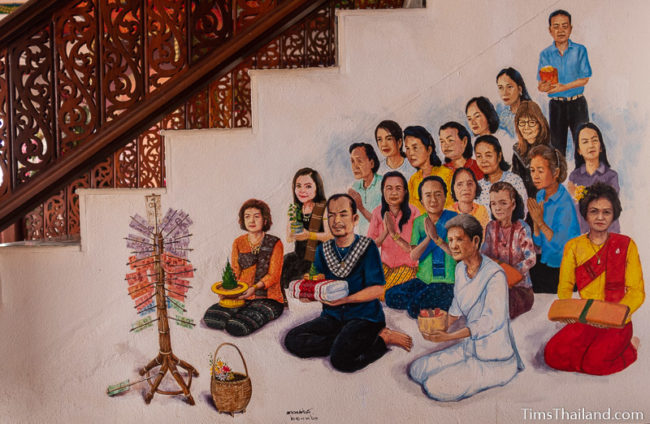 painting of people sitting in front of a money tree being donated to the temple