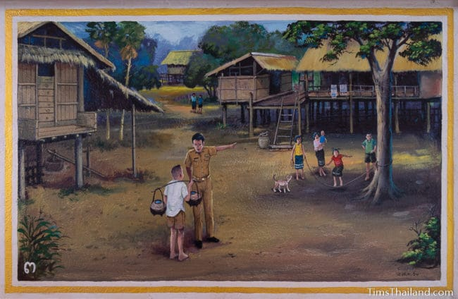 painting of boy carrying water at school