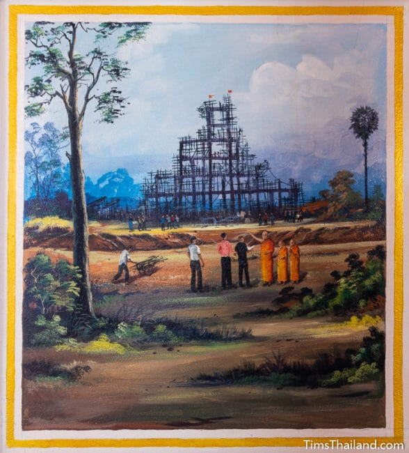 painting of stupa under construction