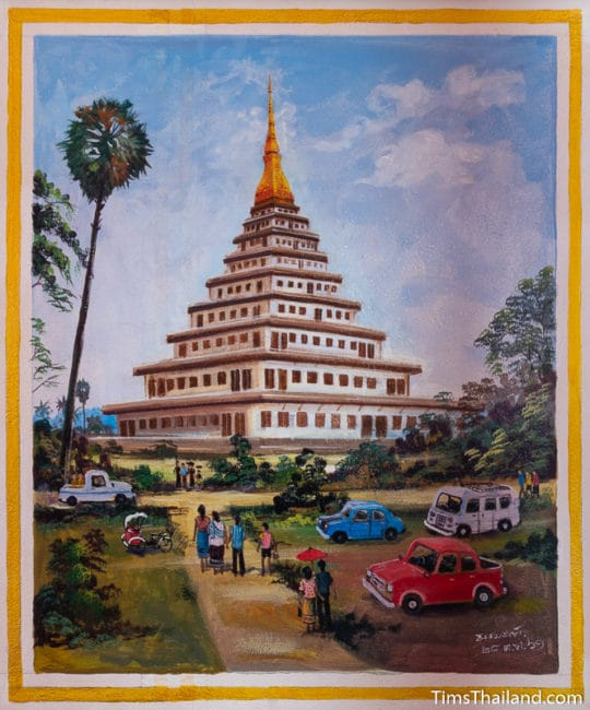 painting of nearly finished stupa