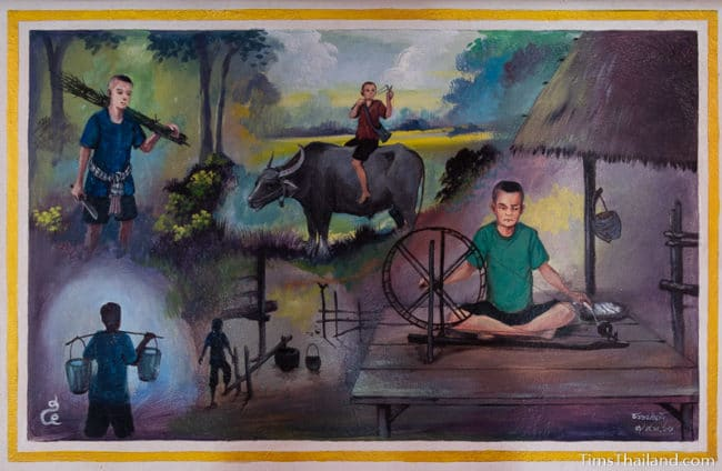 painting of man doing farm chores