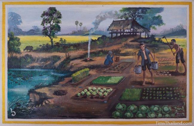 painting of family tending a vegetable garden